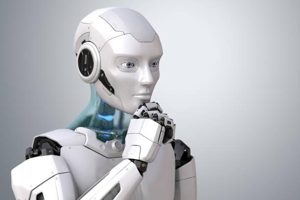 Thinking robot stock photo