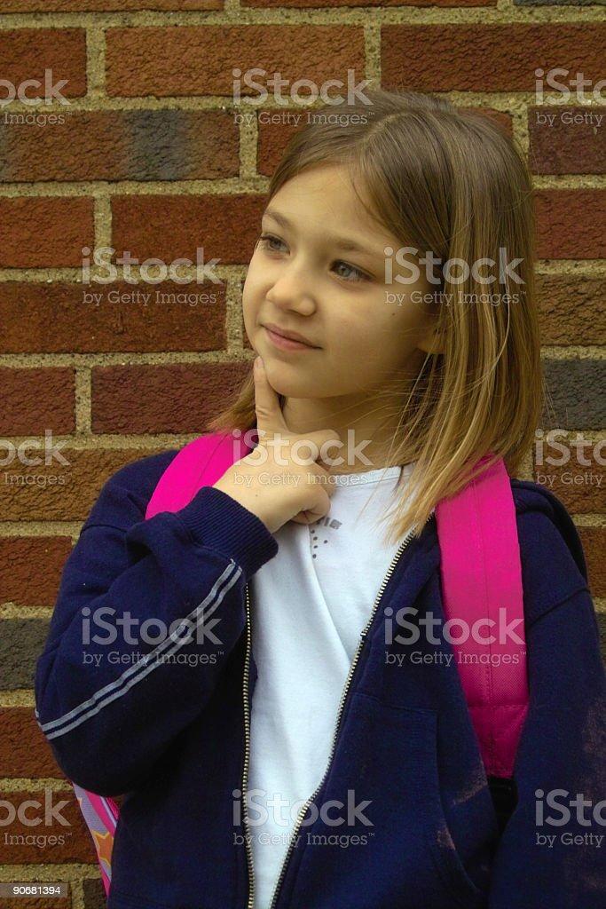 Thinking Schoolgirl royalty-free stock photo