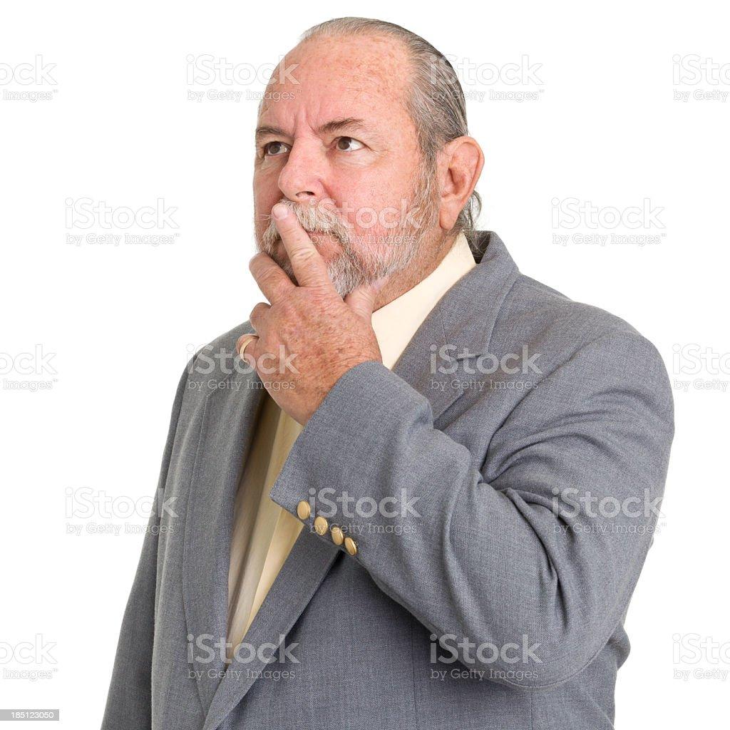 Thinking Senior Man Looking Up royalty-free stock photo
