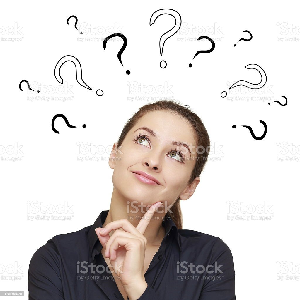 Thinking smiling woman with questions mark above stock photo