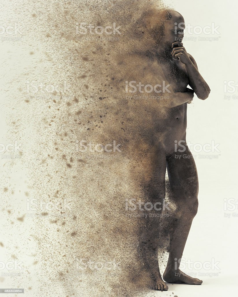 thinking statue disintegrating stock photo