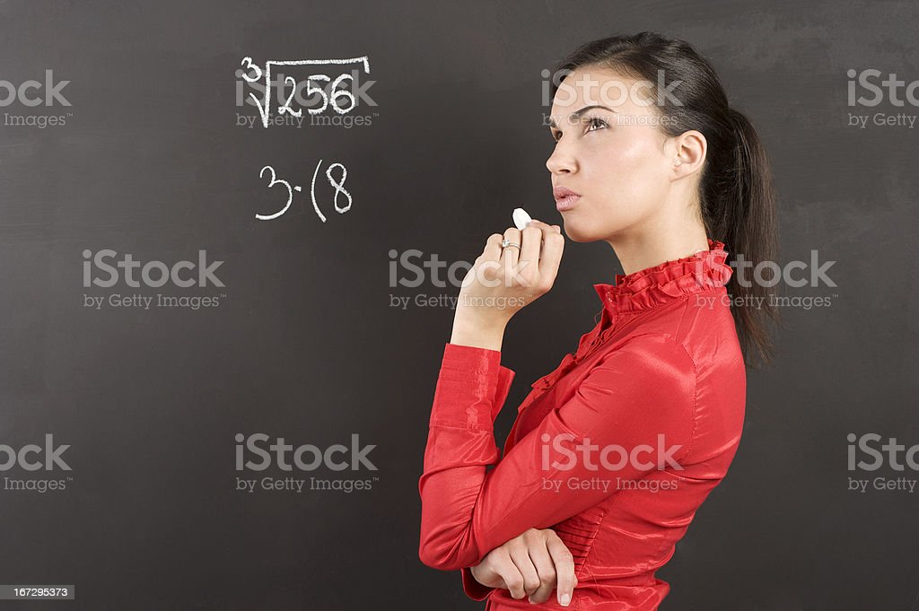 thinking student in red royalty-free stock photo
