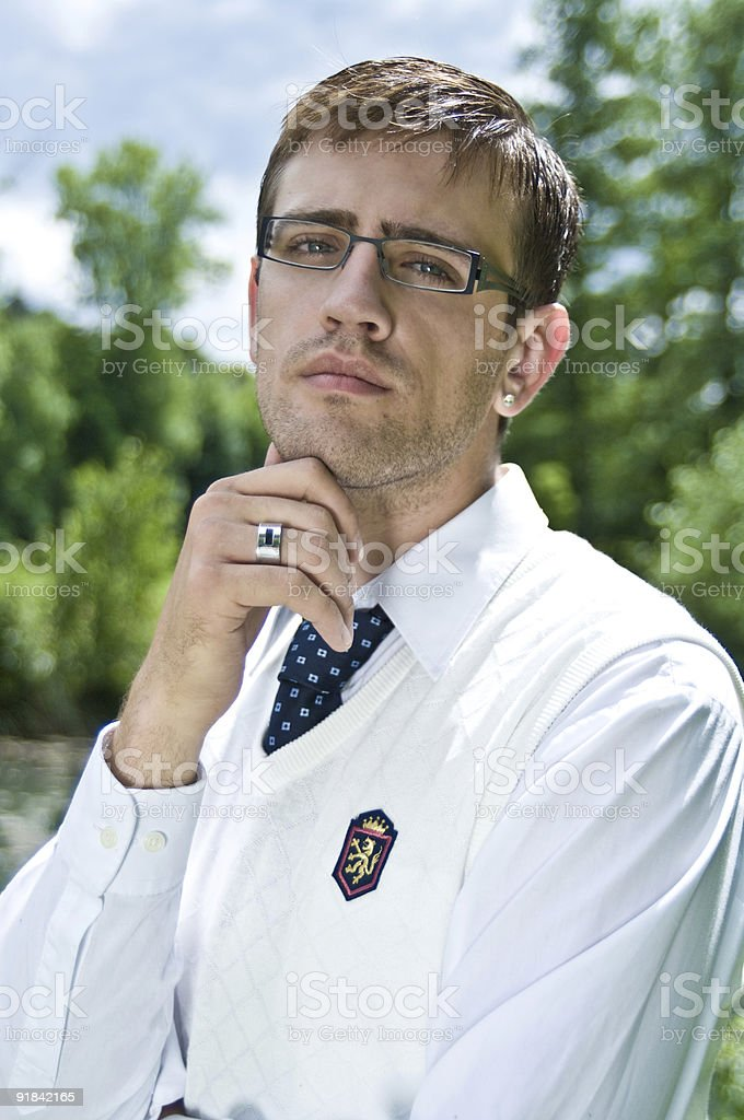 thinking student stock photo