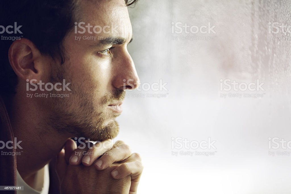 Thinking things over stock photo