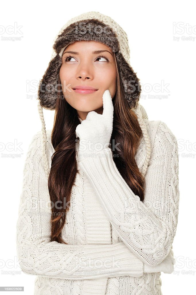 Thinking winter woman isolated royalty-free stock photo
