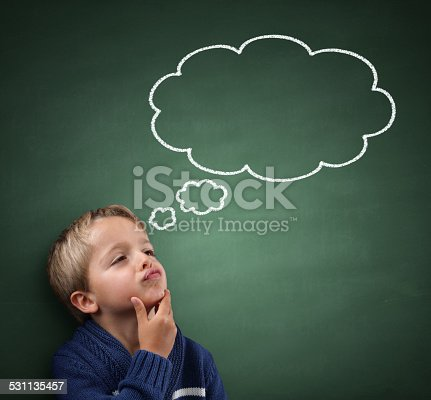 istock Thinking with thought bubble on blackboard 531135457