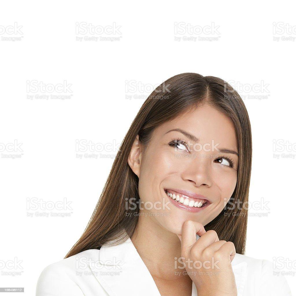 thinking woman isolated on white background royalty-free stock photo