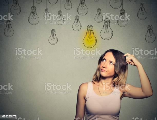 Thinking woman looking up with light idea bulb above head picture id668285478?b=1&k=6&m=668285478&s=612x612&h=y cpwbjddzr67onl7hzwhv3c2jylfdkin1ndqiu21ha=