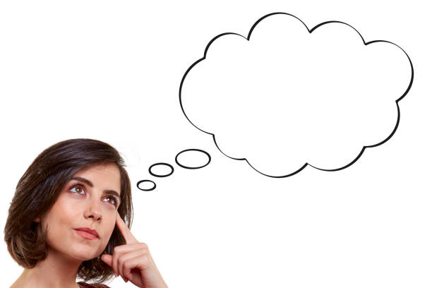 thinking woman - thought bubble stock photos and pictures