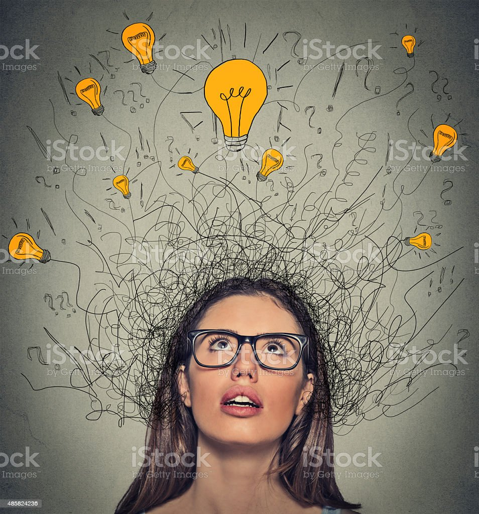 thinking woman question signs light idea bulb above head stock photo