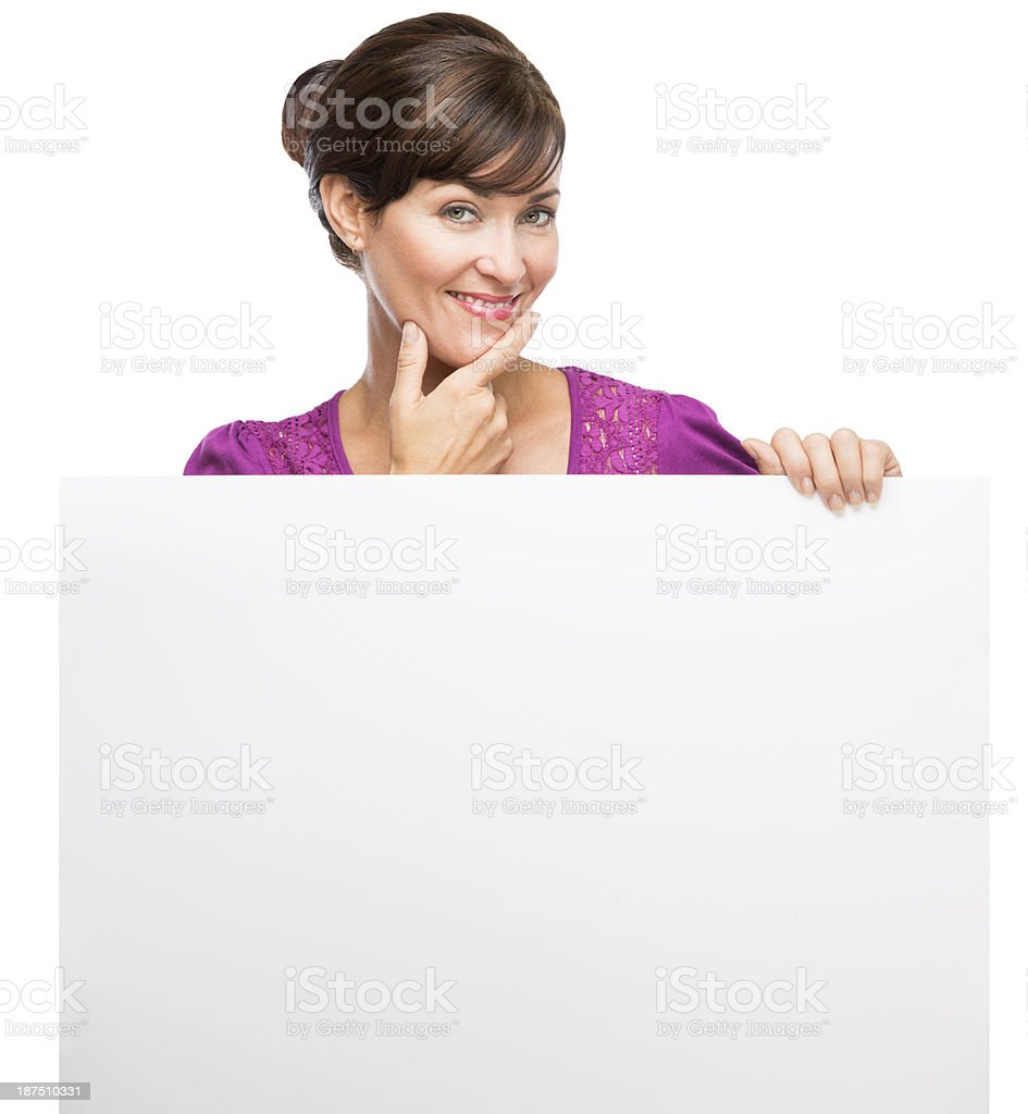 Thinking woman with blank banner royalty-free stock photo