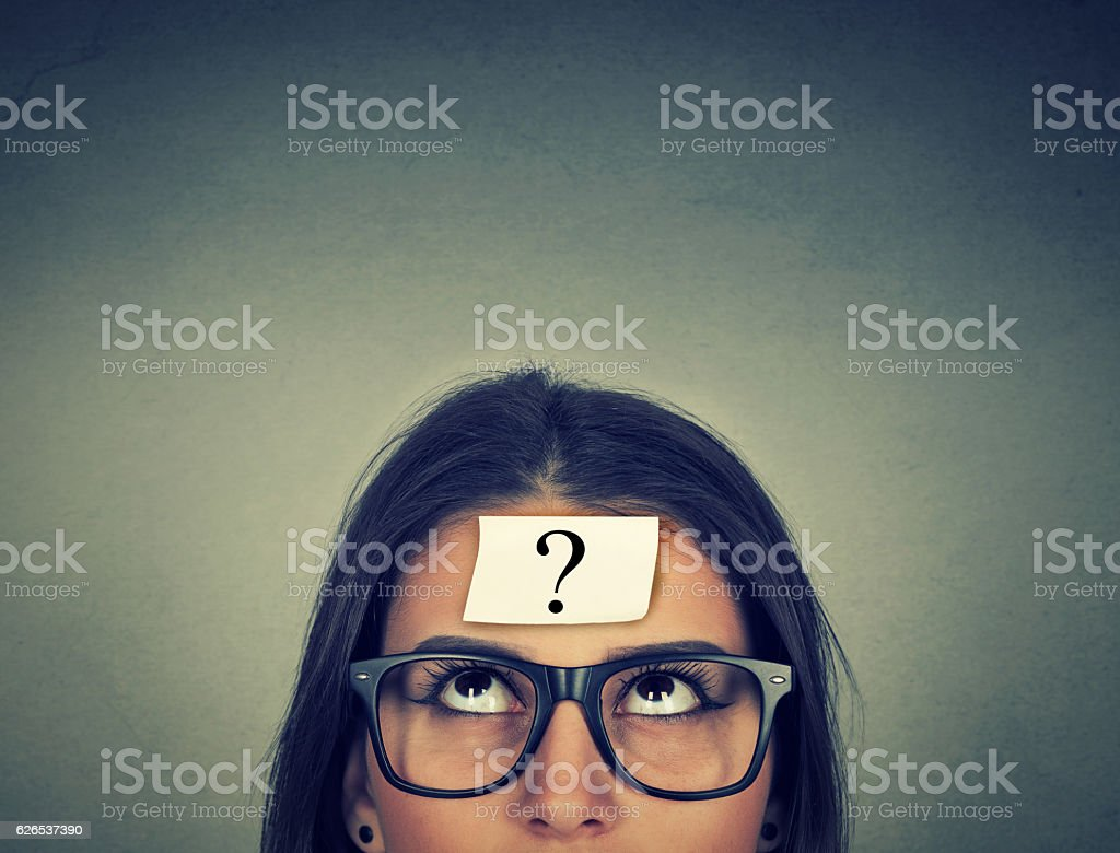 thinking woman with question mark - Royalty-free Adult Stock Photo