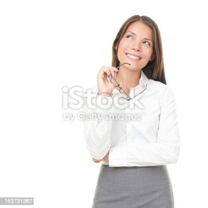 618976144 istock photo Thinking young asian / caucasian businesswoman 153731382