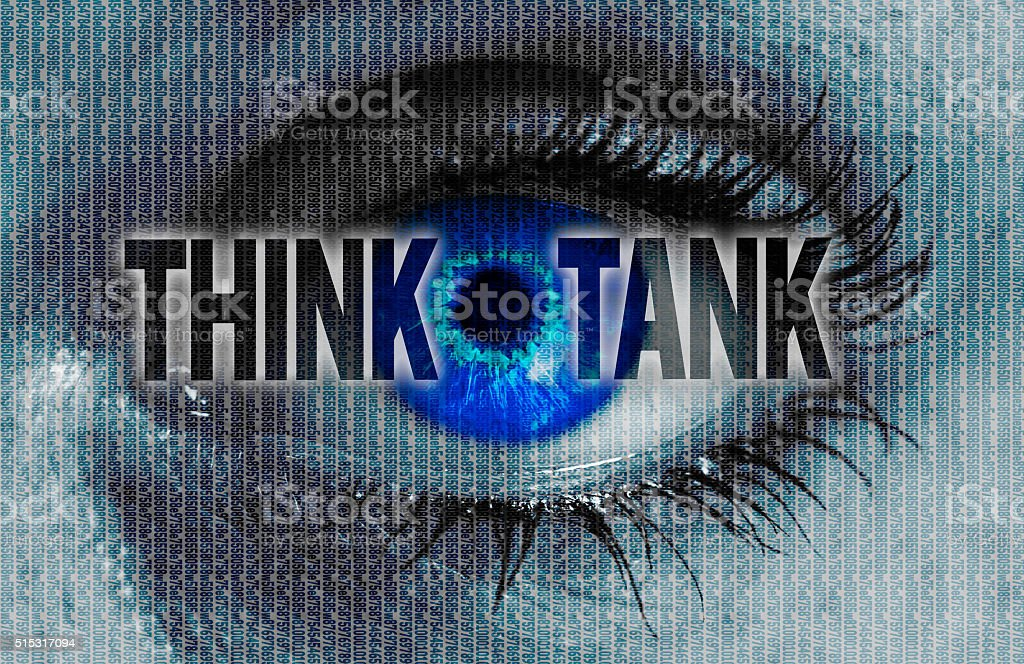 thinktank eye looks at viewer concept background stock photo