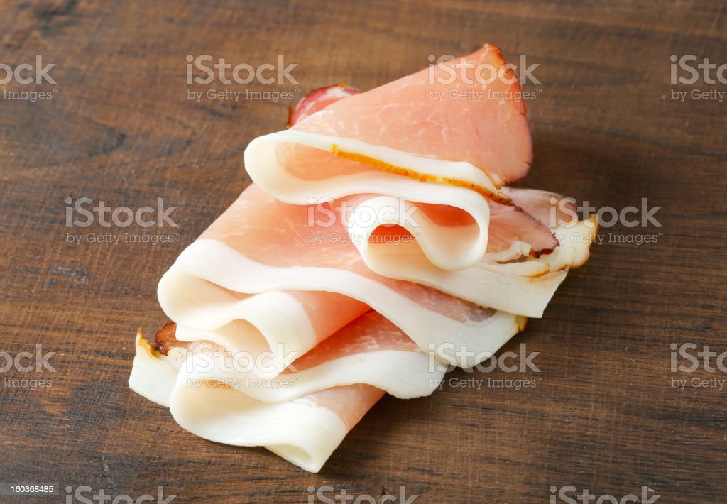 Thinly sliced prosciutto stock photo