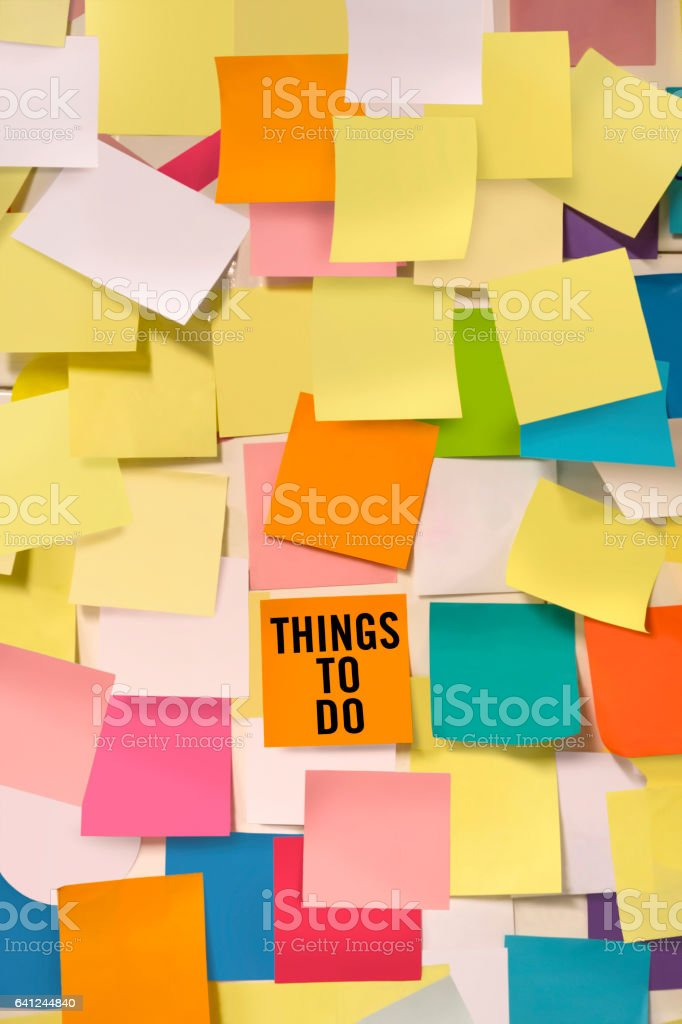 thins to do note stock photo