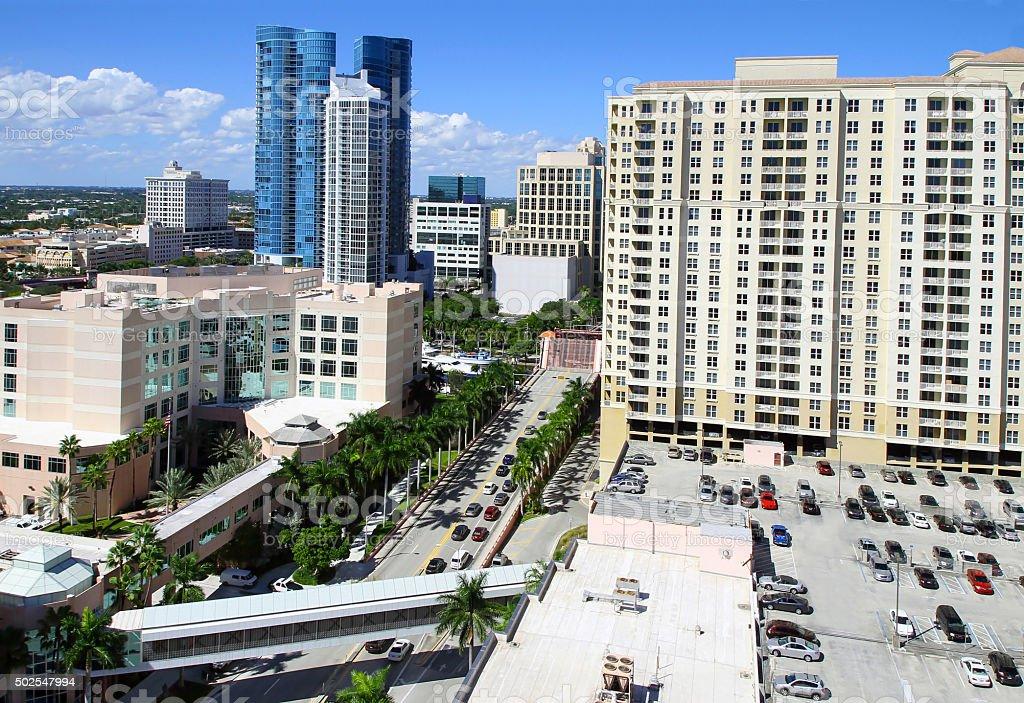 Third Avenue Bridge in Downtown Fort Lauderdale, Florida, USA stock photo