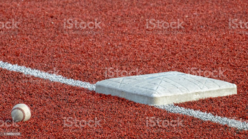 Third base, baseball, baseball ball, synthetic field
