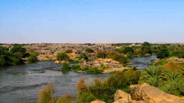 third cataract of nile near tombos sudan - sudan stock photos and pictures