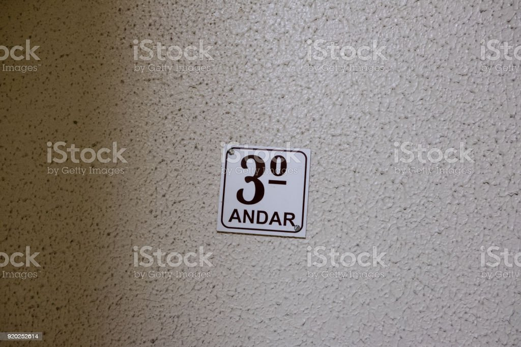 Third floor sing in staircase stock photo