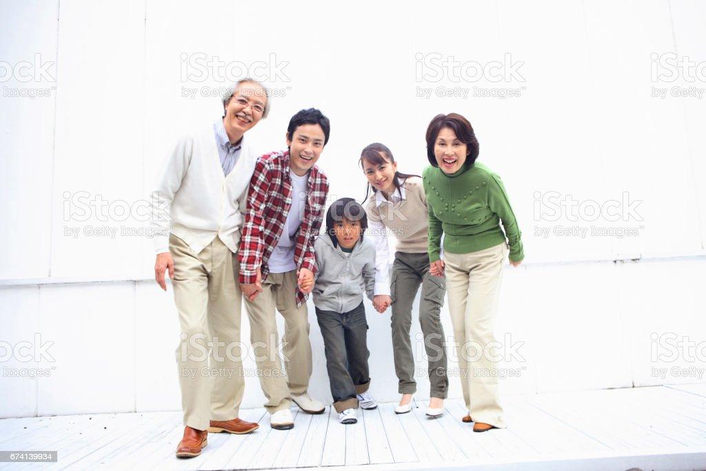 Third generation run family stock photo
