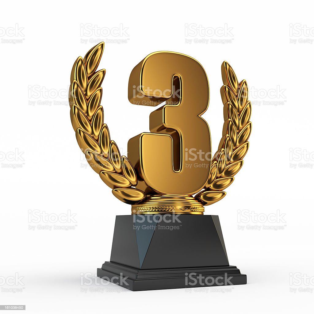 Third place award cup royalty-free stock photo