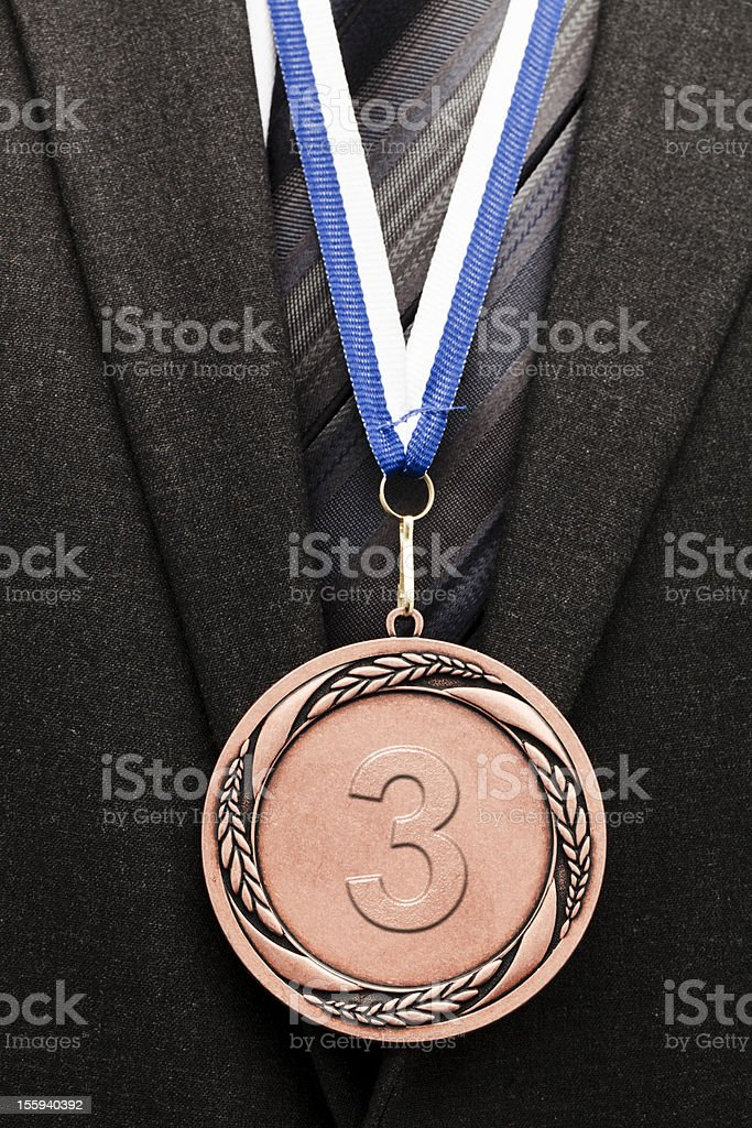 third place bronze medal stock photo
