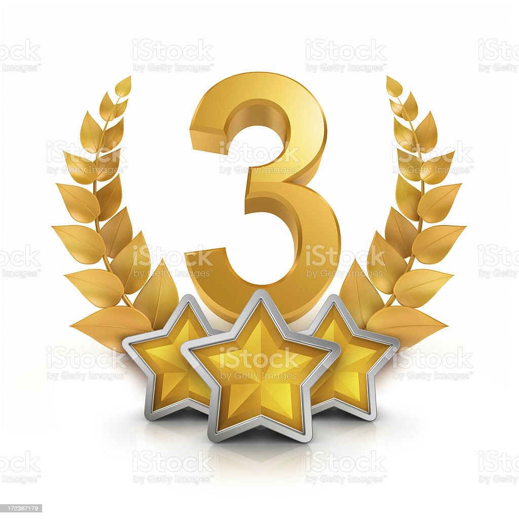 Third Place Three Star Badge Reward Stock Photo More Pictures Of 2