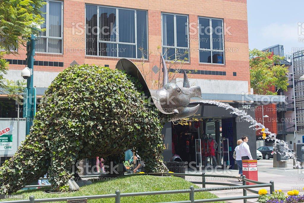 Third Street Promenade dinosaur stock photo