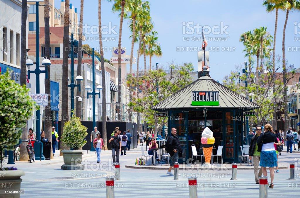 Third Street Promenade in Santa Monica, CA stock photo
