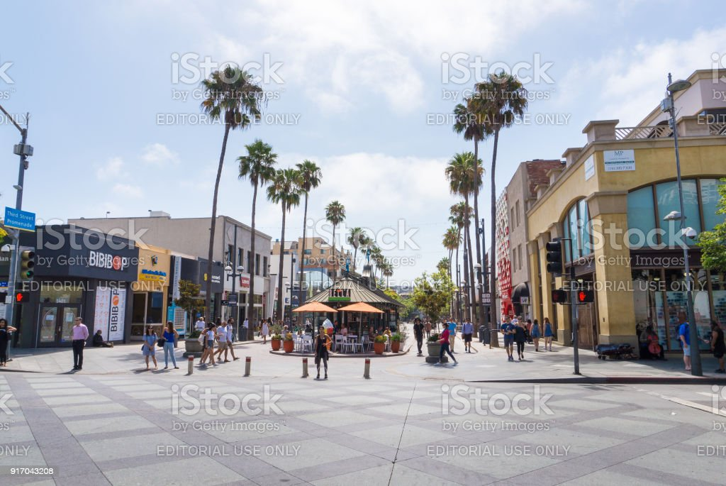 Third Street Promenade in Santa Monica is a popular shopping street and attraction. stock photo