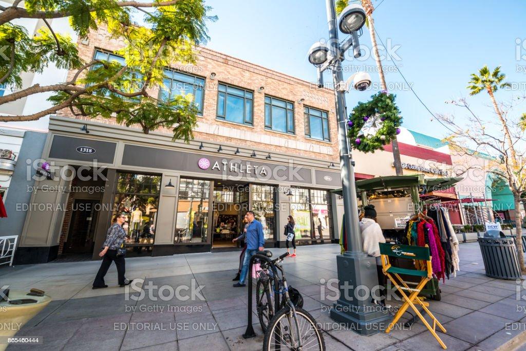 Third Street Promenade Shopping street decorated for Christmas, Santa Monica, USA stock photo