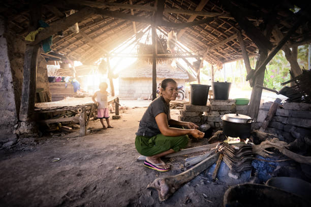 Third world developing countries people live in poor condition stock photo