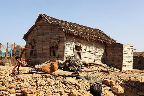 Third World Fishing Village Wooden Hut Anchor Stock Photo