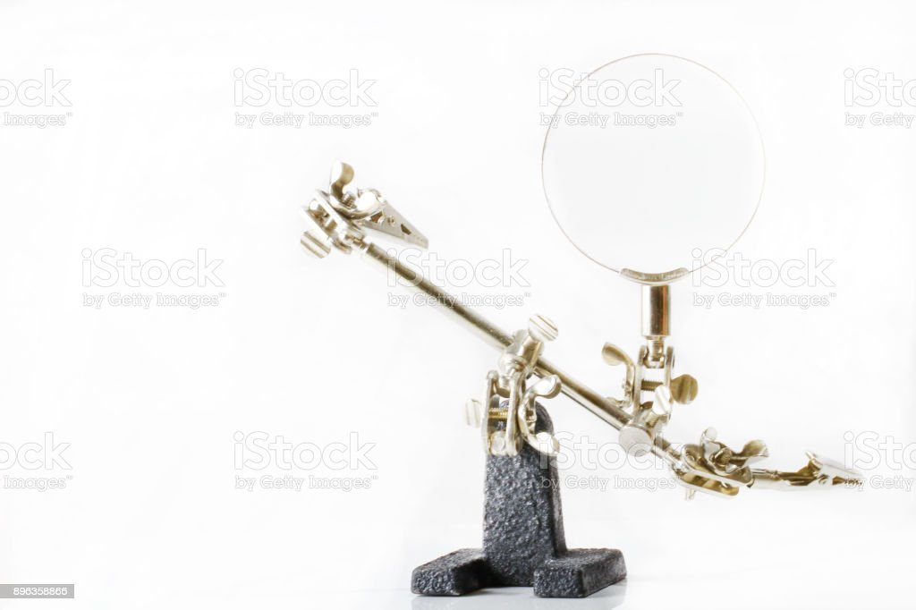 Third-hand Tool With Magnifying Glass stock photo