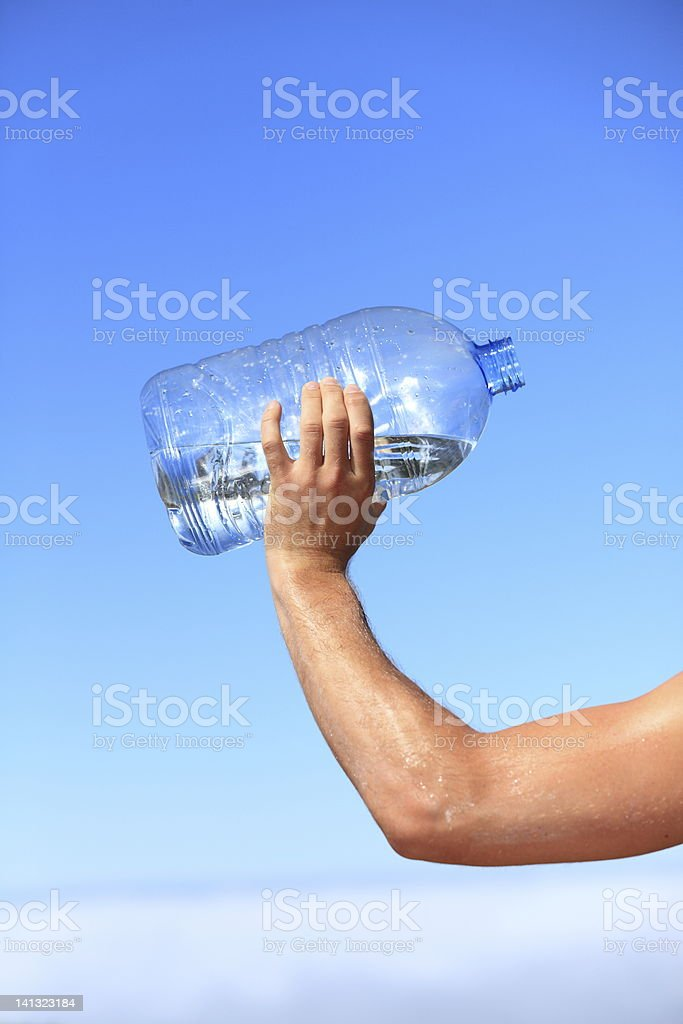 Thirsty man drinking water royalty-free stock photo