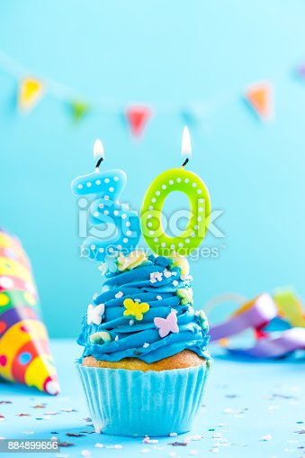 653645234 istock photo Thirtieth 30th birthday cupcake with candle. Card mockup. 884899656