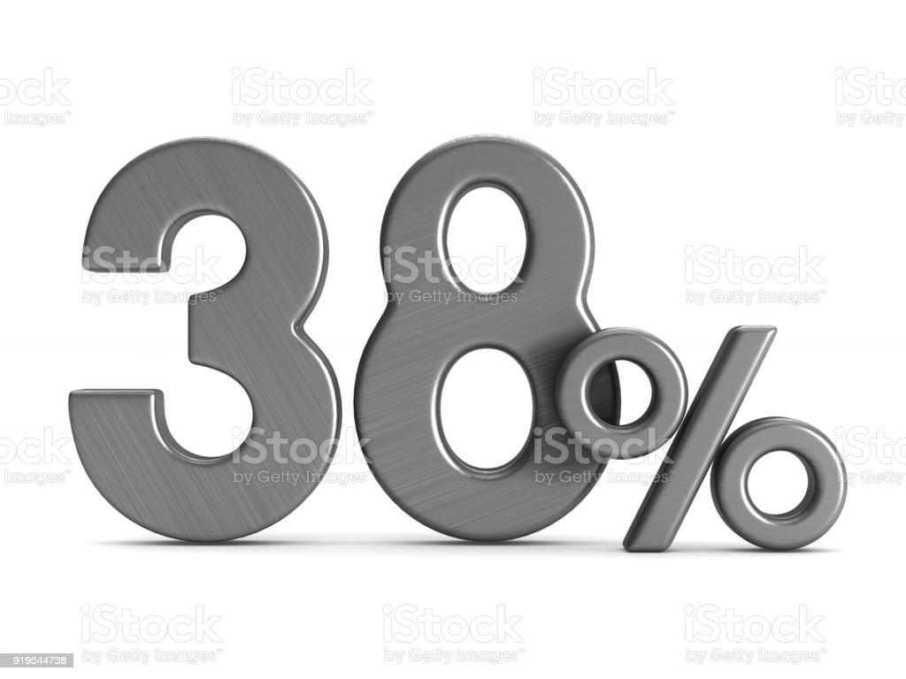 achtunddreißig Prozent auf weißem Hintergrund. Isolierte 3D-Illustration – Foto
