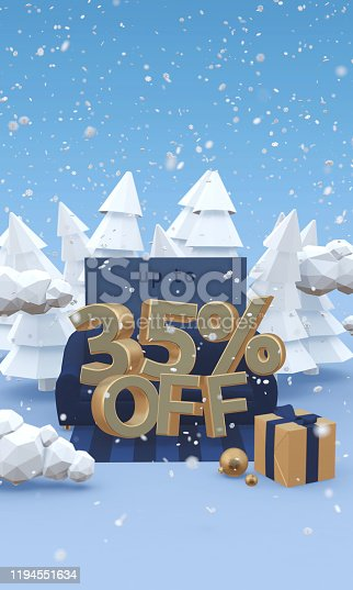 1166441358 istock photo 35 thirty five percent off - 3d illustration with copy space in cartoon style. Christmas discount, winter sale concept. 1194551634