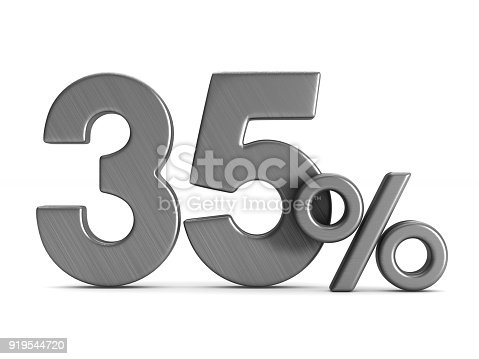 istock thirty five percent on white background. Isolated 3D illustration 919544720