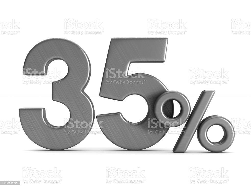 fünfunddreißig Prozent auf weißem Hintergrund. Isolierte 3D-Illustration – Foto