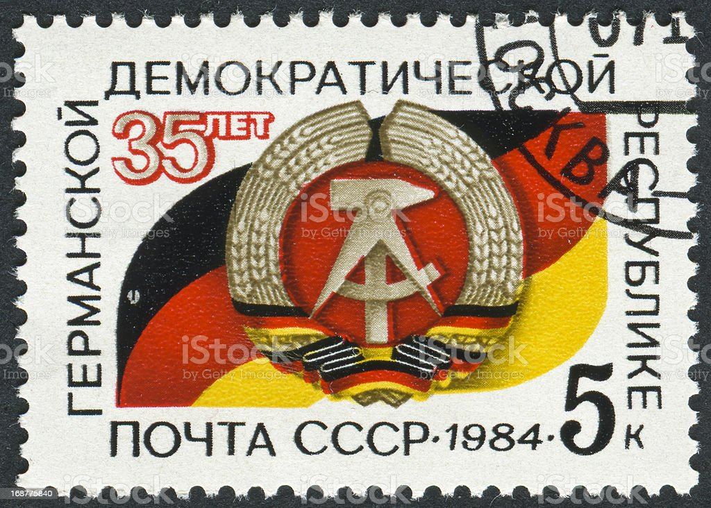 Thirty Five Years Of The German Democratic Republic Stamp stock photo