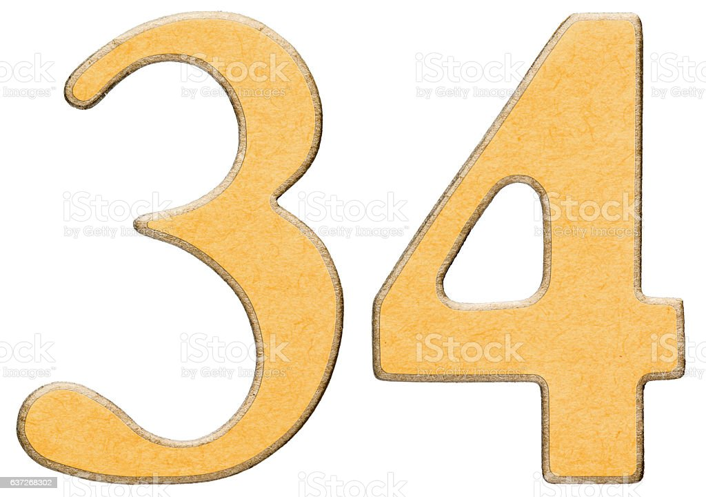 34, thirty four, numeral of wood combined with yellow insert, - foto de stock
