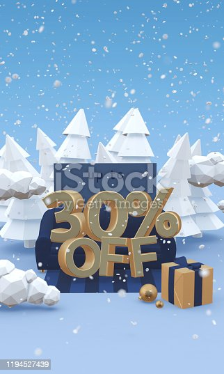 1166441358 istock photo 30 thirty percent off - 3d illustration with copy space in cartoon style. Christmas discount or winter sale concept. 1194527439