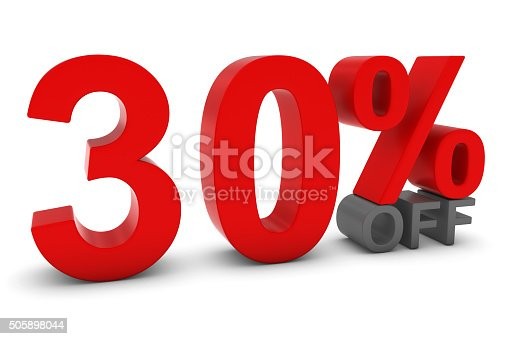 istock 30% OFF - Thirty Percent Off 3D Red/Grey Text 505898044