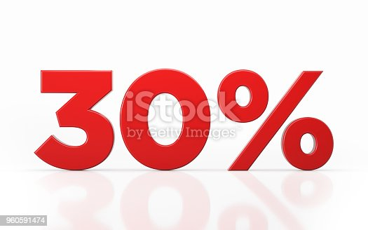 Red thirty percent off discount symbol on white background. Horizontal composition with clipping path and copy space.