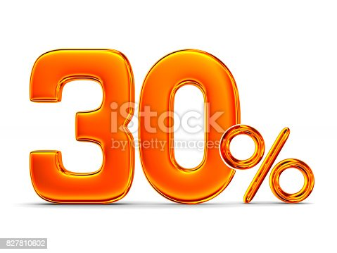 istock Thirty percent on white background. Isolated 3D illustration 827810602
