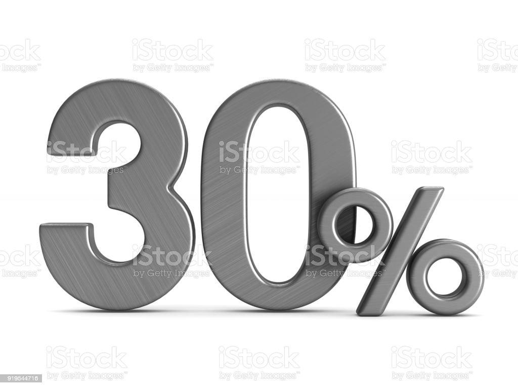 dreißig Prozent auf weißem Hintergrund. Isolierte 3D-Illustration – Foto