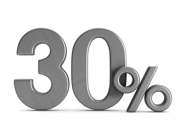 beyaz arka plan üzerinde % 30'u. i̇zole 3d çizim - bearn stok fotoğraflar ve resimler