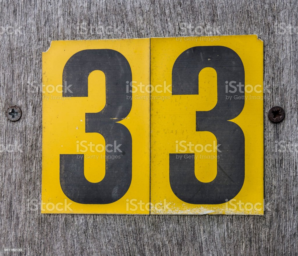 Thirty Three 33 Written Wording in Distressed State Typography Found Number stock photo